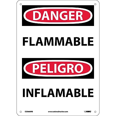 Danger, Flammable, Bilingual, 14X10, Rigid Plastic