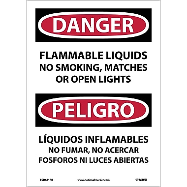 Danger, Flammable Liquids No Smoking, Matches Or Open Lights, Bilingual, 14X10, Adhesive Vinyl