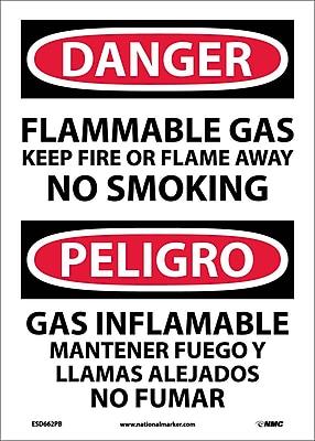 Danger, Flammable Gas Keep Fire Or Flame Away No Smoking, Bilingual, 14X10, Adhesive Vinyl