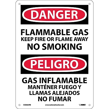 Danger, Flammable Gas Keep Fire Or Flame Away No Smoking, Bilingual, 14X10, Rigid Plastic