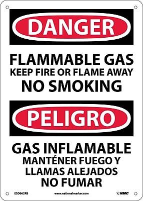 Danger, Flammable Gas Keep Fire Or Flame Away No Smoking, Bilingual, 14X10, Rigid Plastic
