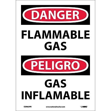 Danger, Flammable Gas, Bilingual, 14X10, Adhesive Vinyl