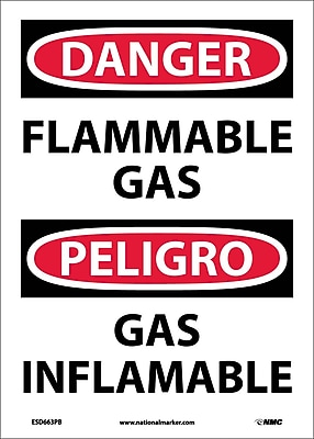 Danger, Flammable Gas, Bilingual, 14X10, Adhesive Vinyl