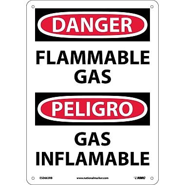 Danger, Flammable Gas, Bilingual, 14X10, Rigid Plastic