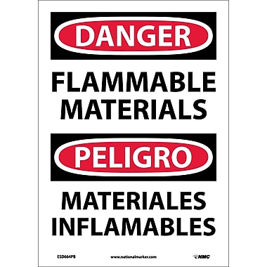 Danger, Flammable Materials, Bilingual, 14X10, Adhesive Vinyl