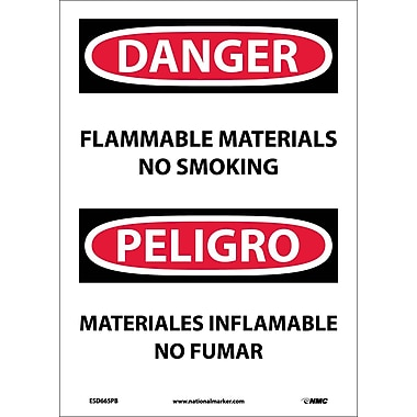 Danger, Flammable Material No Smoking, Bilingual, 14X10, Adhesive Vinyl