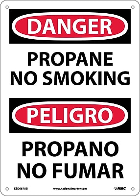 Danger, Propane No Smoking, Bilingual, 14X10, .040 Aluminum