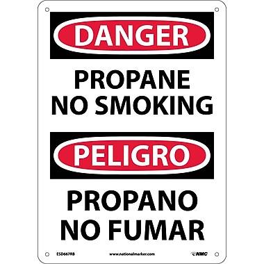 Danger, Propane No Smoking, Bilingual, 14X10, Rigid Plastic
