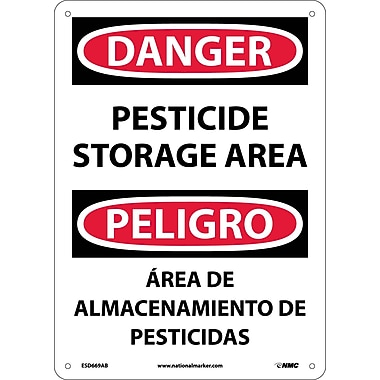 Danger, Pesticide Storage Area, Bilingual, 14X10, .040 Aluminum