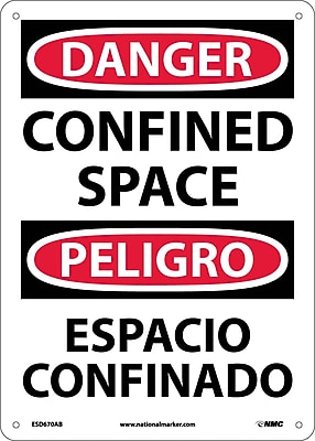 Danger, Confined Space, Bilingual, 14X10, .040 Aluminum