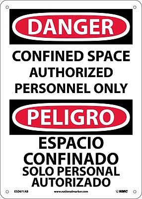 Danger, Confined Space Authorized Personnel Only, Bilingual, 14X10, .040 Aluminum