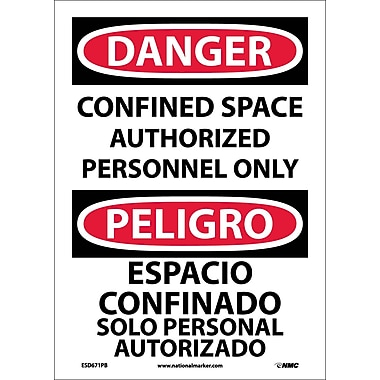 Danger, Confined Space Authorized Personnel Only, Bilingual, 14X10, Adhesive Vinyl