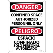 Danger, Confined Space Authorized Personnel Only, Bilingual, 14X10, Rigid Plastic
