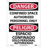 Danger, Confined Space Authorized Personnel Only, Bilingual, 14X10, Rigid Plastic