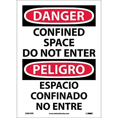 Danger, Confined Space Do Not Enter, Bilingual, 14X10, Adhesive Vinyl