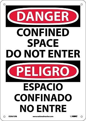 Danger, Confined Space Do Not Enter, Bilingual, 14X10, Rigid Plastic