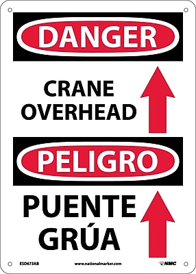 Danger, Crane Overhead (Graphic) Bilingual, 14X10, .040 Aluminum