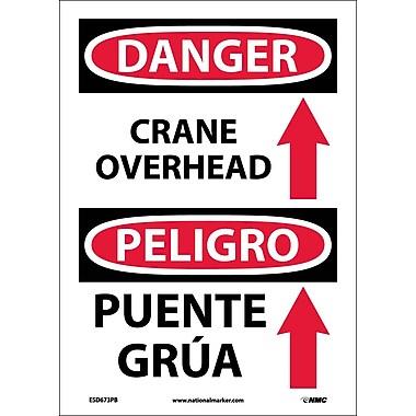 Danger, Crane Overhead (Graphic) Bilingual, 14X10, Adhesive Vinyl