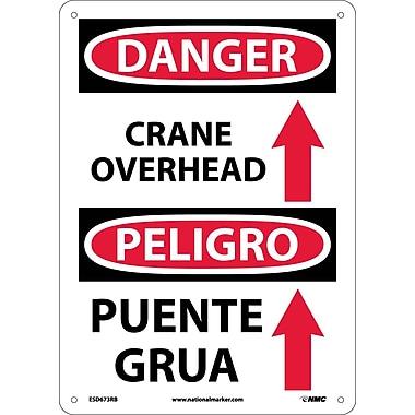Danger, Crane Overhead (Graphic) Bilingual, 14X10, Rigid Plastic