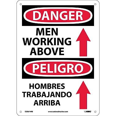 Danger, Men Working Above (Graphic) Bilingual, 14X10, Rigid Plastic