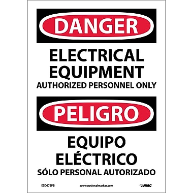 Danger, Electrical Equipment Authorized Personnel Only, Bilingual, 14X10, Adhesive Vinyl