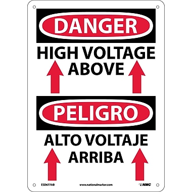 Danger, High Voltage Above (Graphic) Bilingual, 14X10, .040 Aluminum