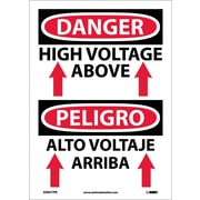 Danger, High Voltage Above (Graphic) Bilingual, 14X10, Adhesive Vinyl
