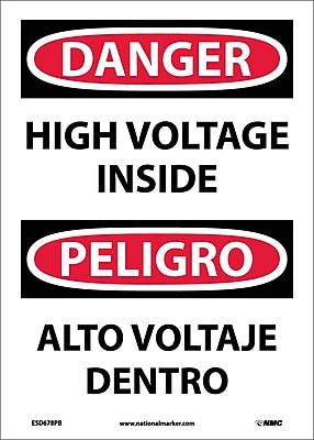 Danger, High Voltage Inside, Bilingual, 14X10, Adhesive Vinyl