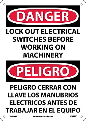 Danger, Lock Out Electrical Switches Before Working On Machinery, Bilingual, 14X10, .040 Aluminum