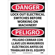 Danger, Lock Out Electrical Switches Before Working On Machinery, Bilingual, 14X10, Adhesive Vinyl