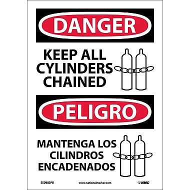Danger, Keep All Cylinders Chained (Graphic), Bilingual, 14X10, Adhesive Vinyl