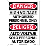 Danger, High Voltage Authorized Personnel Only, Bilingual, 14X10, Rigid Plastic