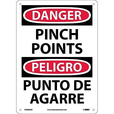 Danger, Pinch Point, Bilingual, 14X10, .040 Aluminum