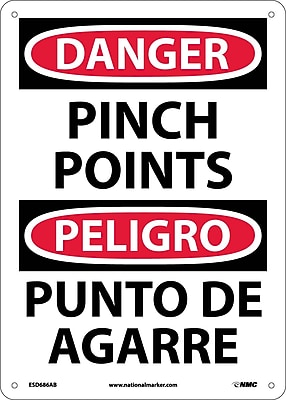 Danger, Pinch Point, Bilingual, 14X10, .040 Aluminum