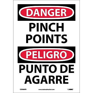 Danger, Pinch Point, Bilingual, 14X10, Adhesive Vinyl