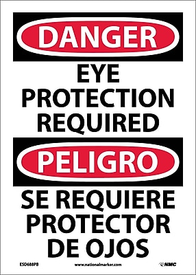 Danger, Eye Protection Required, Bilingual, 14X10, Adhesive Vinyl