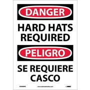 Danger, Hard Hats Required, Bilingual, 14X10, Adhesive Vinyl