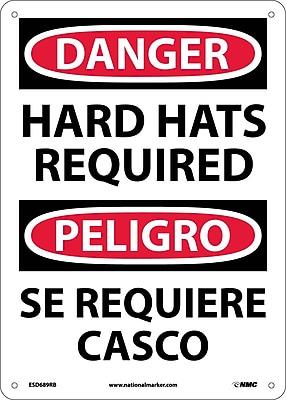 Danger, Hard Hats Required, Bilingual, 14X10, Rigid Plastic