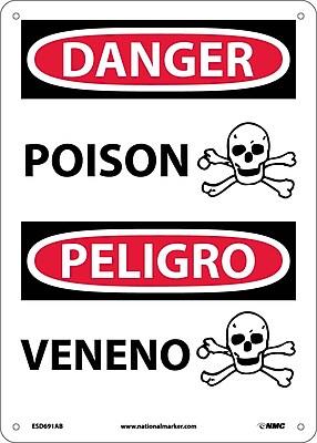 Danger, Poison (Graphic) Bilingual, 14X10, .040 Aluminum