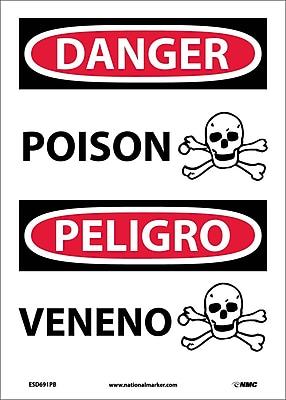 Danger, Poison (Graphic) Bilingual, 14X10, Adhesive Vinyl