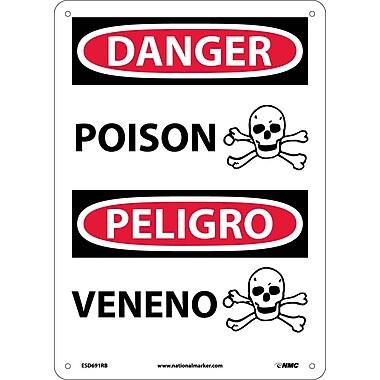 Danger, Poison (Graphic) Bilingual, 14X10, Rigid Plastic