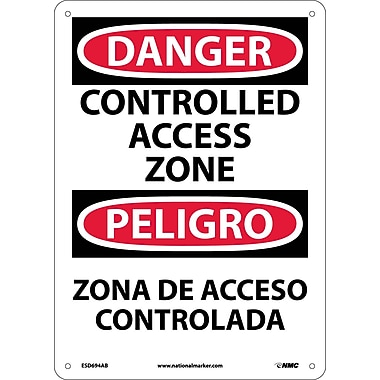 Danger, Controlled Access Zone, Bilingual, 14X10, .040 Aluminum