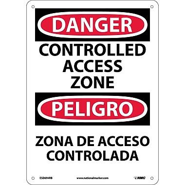 Danger, Controlled Access Zone, Bilingual, 14X10, Rigid Platic