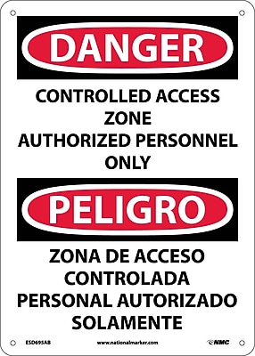 Danger, Controlled Access Zone Authorized Personnel Only Bilingual, 14X10 Adhesive Vinyl