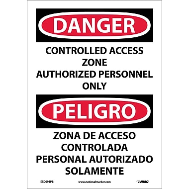 Danger, Controlled Access Zone Authorized Personnel Only, Bilingual, 14X10 Adhesive Vinyl