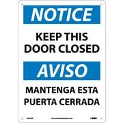 Notice, Keep This Door Closed Bilingual, 14X10, Rigid Plastic