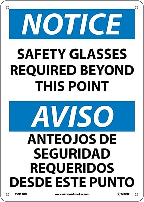 Notice, Safety Glasses Required Beyond This Point Bilingual, 14X10, Rigid Plastic