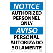Notice, Authorized Personnel Only (Bilingual), 14X10, Adhesive Vinyl