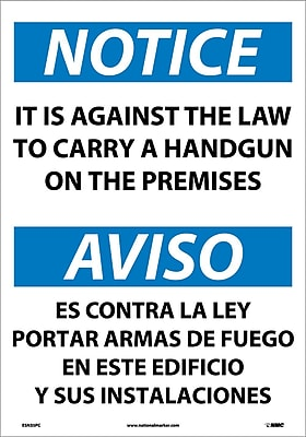 Notice, It Is Against The Law To Carry A Handgun On These Premises, 20X14, Adhesive Vinyl