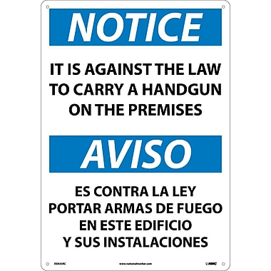 Notice, It Is Against The Law To Carry A Handgun On These Premises, 20X14, Rigid Plastic